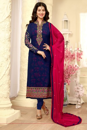 Ayesha Takia Navy Blue Georgette Heavy Embroidery on Neck and Sleeve Salwar Kameez