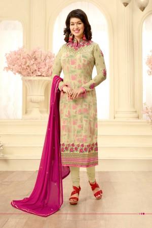 Ayesha Takia Mehendi Georgette Heavy Embroidery on Neck and Sleeve Salwar Kameez