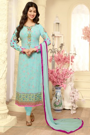 Ayesha Takia SkyBlue Georgette Heavy Embroidery on Neck and Sleeve Salwar Kameez