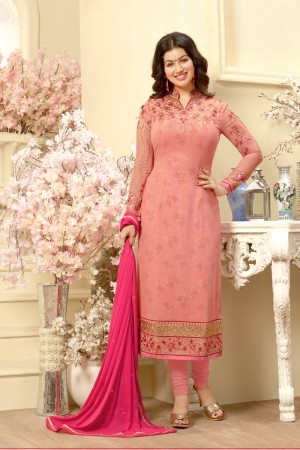 Ayesha Takia Peach Georgette Heavy Embroidery on Neck and Sleeve Salwar Kameez