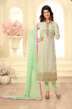 Ayesha Takia Light Green Georgette Heavy Embroidery on Neck and Sleeve Salwar Kameez