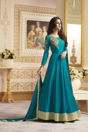Brilliant Aqua Banglori Silk Heavy Embroidery On Neck and Sleeve  SalwarKameez