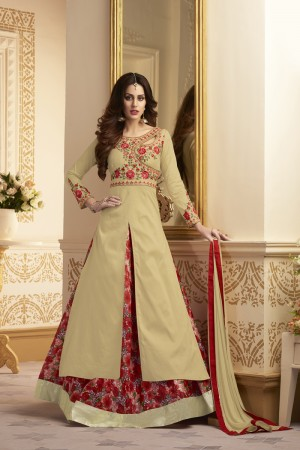 Creative Chiku Taffeta Silk Heavy Embroidery On Neck and Sleeve  SalwarKameez