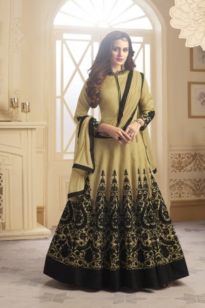 Enchanting Chiku Taffeta Silk Heavy Embroidery On Neck and Sleeve and Kali Work SalwarKameez