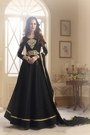 Mesmerising Black Taffeta Silk Heavy Embroidery On Neck and Sleeve  SalwarKameez