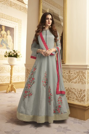 Ethereal Grey Taffeta Silk Heavy Embroidery On Neck and Sleeve and Kali Work SalwarKameez
