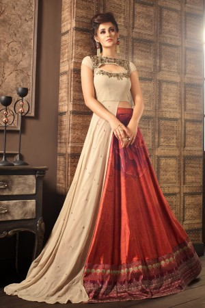 Delightful Chiku Georgette Heavy Embroidery On Neck with Printed Lehenga