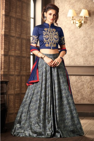 Charming Blue Silk Heavy Embroidery On Neck and Sleeve with Printed Lehenga
