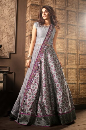 Dazzling Grey Georgette Embroidery Lace Border with Printed Lehenga