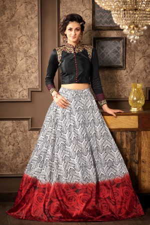 Eye catching Black Silk Heavy Embroidery On Neck and Sleeve with Printed Lehenga