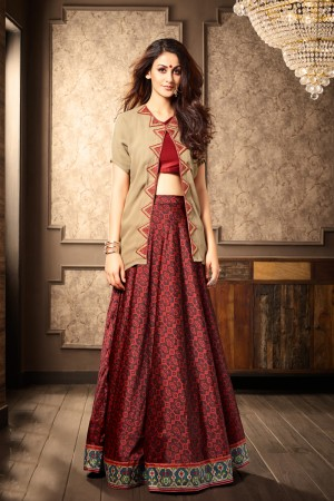 Tremendous Chiku Georgette Heavy Embroidery On Neck and Printed Lehenga