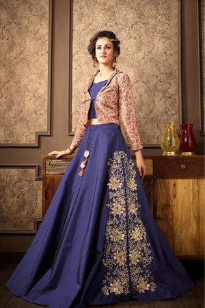 Elegant Blue Silk Heavy Embroidery On Lehenga with Printed Koti