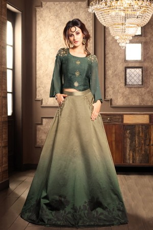 Dynamic Mehendi Georgette Embroidery On Neck and Sleeve with Printed Lehenga