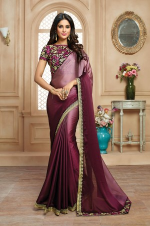 Classy Wine Shaded Satin Embroidered Border with Embroidery Blouse with Stone Work Saree
