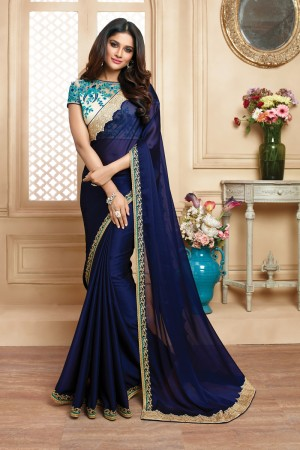 Desirable Blue Satin Embroidered Border with Embroidery Blouse with Stone Work Saree