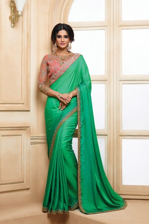 Designer Green Two Tone Satin Embroidered Border with Embroidery Blouse with Stone Work Saree