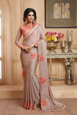 Alluring Cohocolate Chiffon Embroidered Border with Embroidery Blouse with Stone Work Saree