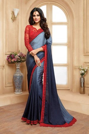 Enriching Blue& Grey Shaded Georgette Embroidered Border with Embroidery Blouse with Stone Work Saree