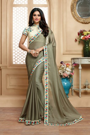 Fantastic Green Grey Chiffon Embroidered Border with Embroidery Blouse with Stone Work Saree
