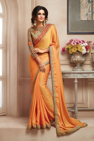 Fantastic Light Orange Shaded Two Tone Embroidered Border with Embroidery Blouse with Stone Work Saree