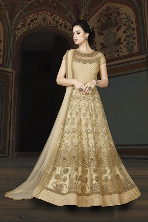 Ravishing Cream Net Heavy Embroidery Kali Work and Dupatta with Lace Border Salwar Kameez