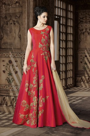 Dreamy Red Silk Heavy Embroidery Zari and Sequance Work  on Top Salwar Kameez