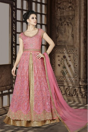Classy Pink Net Heavy Embroidery Work on Neck and Embroidery Thread and Zari Kali Work  Salwar Kameez