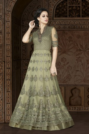 Desirable Mehendi Net Heavy Embroidery Kali Work and Dupatta with Lace Border Salwar Kameez