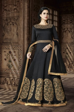 Designer Black Silk Heavy Embroidery Sequance and Zari Butta Kali Work and Dupatta with Lace Border Salwar Kameez