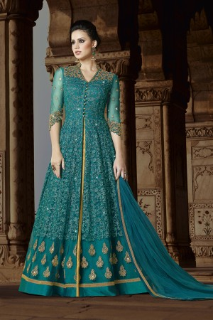 Alluring Rama Net Heavy Embroidery Thread and Zari Work and Dupatta with Lace Border Salwar Kameez