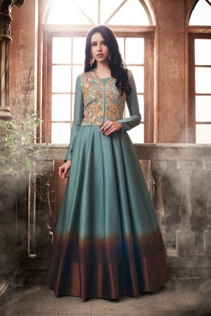 Mind Blowing Aqua Tussar Silk Embroidered Jacket Salwar Kameez