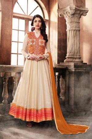 Sparkling Offwhite Silk Embroidered Jacket Salwar Kameez