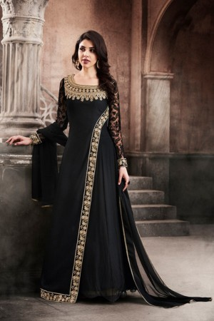 Charismatic Black Georgette Heavy Embroidery On Neck and Sleeve Salwar Kameez