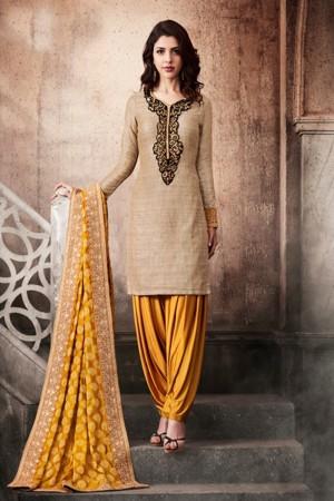 Vibrant Beige Khadi Silk Heavy Embroidery On Neck Salwar Kameez