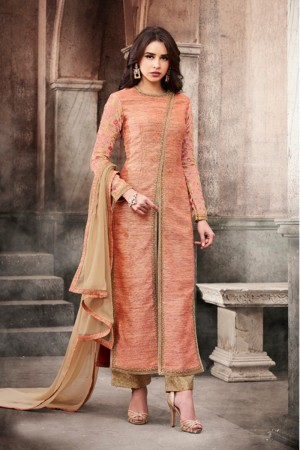 Marvelous Peach Slub Silk Heavy Embroidery On Neck and Sleeve Salwar Kameez