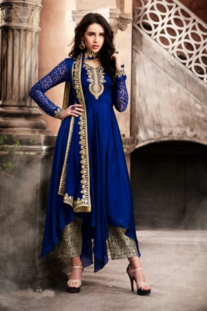Rust Navy Blue Georgette Heavy Embroidery On Neck and Sleeve Salwar Kameez