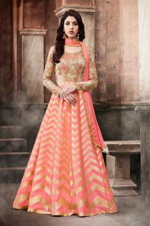 Impressive Beige&Peach Dhupion & Brocade Heavy Embroidery On Neck and Sleeve Salwar Kameez