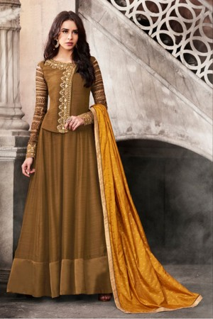 Stylish Brown Satin Heavy Embroidery On Neck and Sleeve Salwar Kameez
