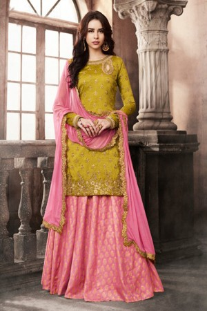 Peppy Olive Silk Heavy Embroidery On Neck and Sleeve Salwar Kameez