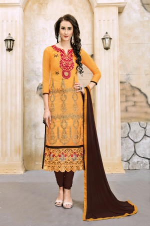 Picturesque Mustard Chanderi Cotton Embroidery on Neck and Sleeve Dress Material