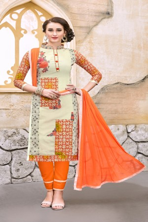 Refreshing Cream Chanderi Cotton Embroidery on Neck and Sleeve Dress Material
