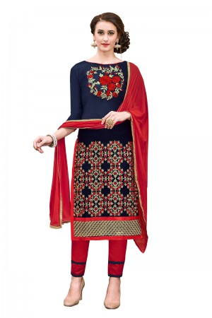 Bedazzling Blue Chanderi Cotton Embroidery on Neck and Sleeve Dress Material