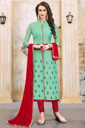 Splendiferous Pista Chanderi Cotton Embroidery on Neck and Sleeve Dress Material