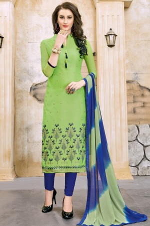 Fabulous Green Chanderi Cotton Embroidery on Neck and Sleeve Dress Material