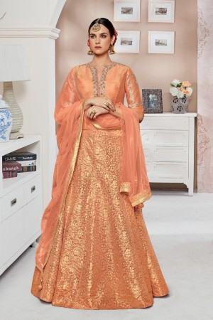 Glitzy Orange ATG Coding and Zari work on Sleeve and Front Side with Khatali Mirror Work Salwar Kameez