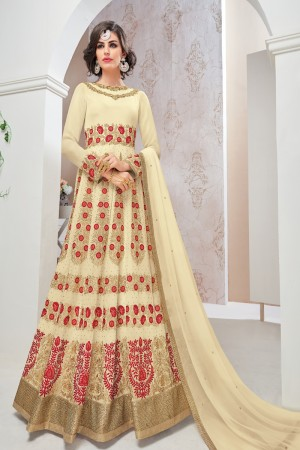 Angellic OffWhite Georgette Heavy Embroidery Thread and Zari Work with Stone Work Salwar Kameez