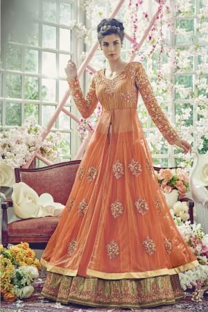 Ethnic Orange Net Heavy Embroidery Thread , Zari, Sequence and Stone Work Salwar Kameez