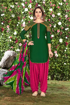 Astounding DarkGreen Glaze Cotton Heavy Embroidery on Neck and Sleeve Dress Material