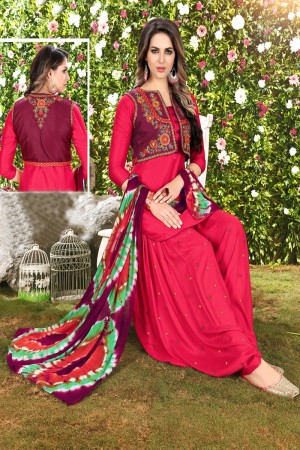 Ravishing RaniPink Glaze Cotton Heavy Embroidery on Neck and Sleeve Dress Material