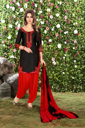 Classic Black Glaze Cotton Heavy Embroidery on Neck and Sleeve Dress Material